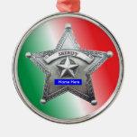 Personalizado de la insignia del sheriff adorno navideño redondo de metal