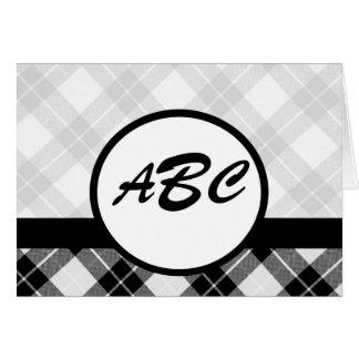 Personalizado de la tela escocesa con monograma tarjeta de felicitación