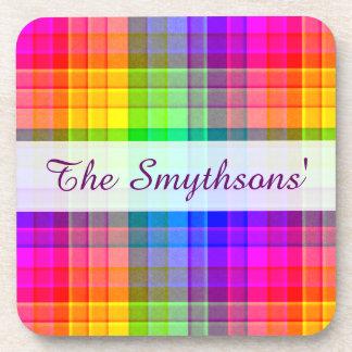 Personalizado de la tela escocesa del arco iris posavasos de bebida