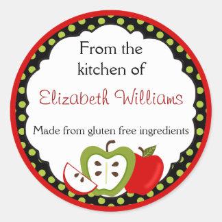 Personalizado de las manzanas de la cocina pegatina redonda