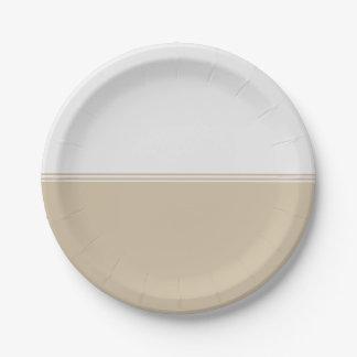 Personalizado de marfil poner crema de las rayas platos de papel