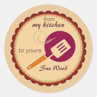 Personalizado de mi cocina el suyo pegatinas etiqueta redonda
