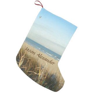 Personalizado de no. 3 de la escena de la playa de bota navideña pequeña