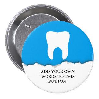 Personalizado de papel rasgado del diente de la pin redondo de 3 pulgadas
