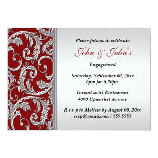 PERSONALIZADO de plata rojo del aniversario del Invitación 12,7 X 17,8 Cm