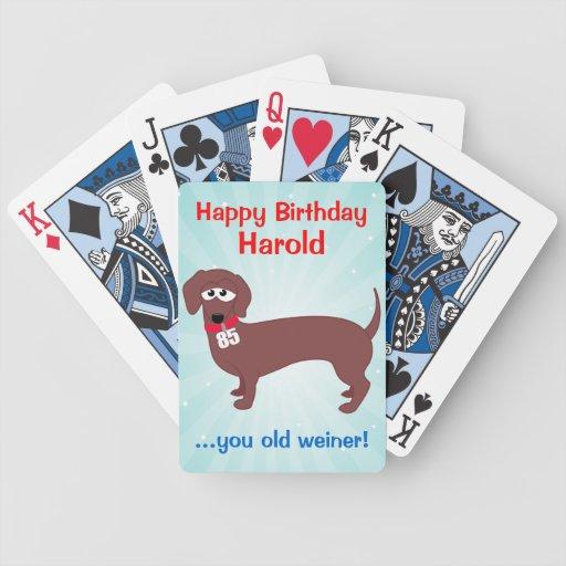 Personalizado de Weiner de 85 años Baraja Cartas De Poker