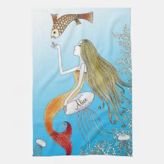 Personalizado debajo de la sirena hermosa del mar toalla