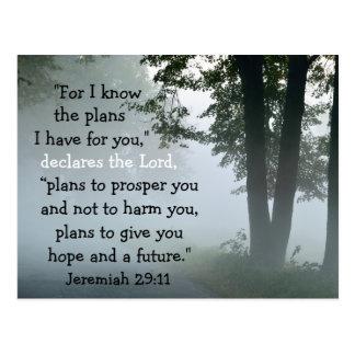 Personalizado del 29:11 de Jeremiah del verso de Postal