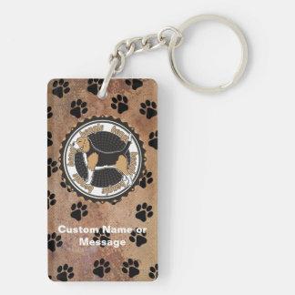 Personalizado del amante de la raza del perro de llavero rectangular acrílico a doble cara