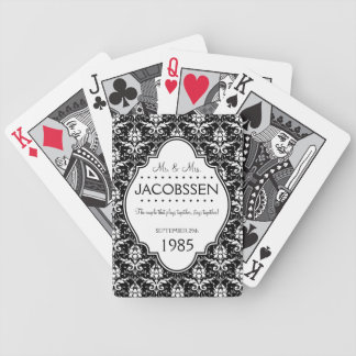 Personalizado del aniversario de boda blanco y neg baraja de cartas