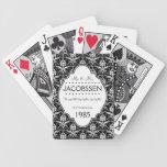 Personalizado del aniversario de boda blanco y neg cartas de juego