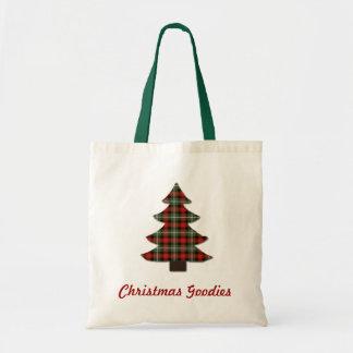 Personalizado del árbol de navidad del arte bolsa tela barata