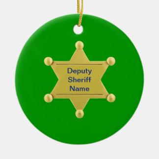 Personalizado del ayudante del sheriff adorno navideño redondo de cerámica