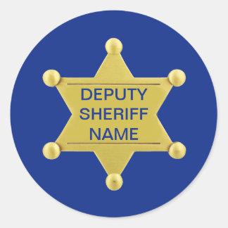 Personalizado del ayudante del sheriff pegatina redonda