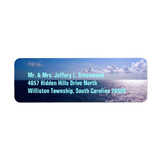 Personalizado del azul de océano etiqueta de remite