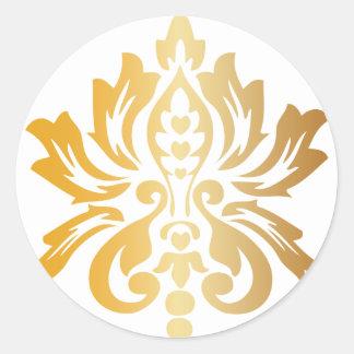 Personalizado del damasco del oro pegatina redonda
