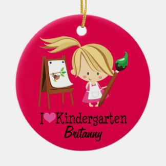 Personalizado del estudiante del maestro de jardín adorno navideño redondo de cerámica