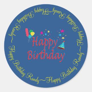 Personalizado del feliz cumpleaños pegatina redonda