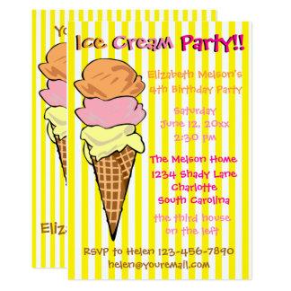 """Personalizado del fiesta del helado invitación 5"""" x 7"""""""