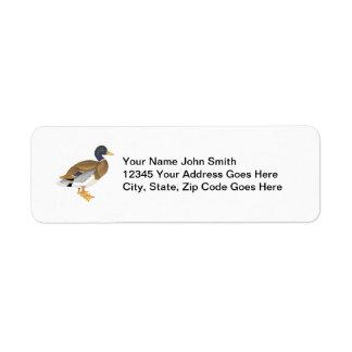 Personalizado del pato del pato silvestre etiqueta de remitente