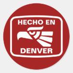 Personalizado del personalizado del en Denver de H Pegatina Redonda