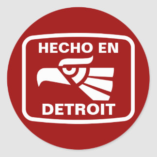 Personalizado del personalizado del en Detroit de Pegatina Redonda