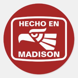 Personalizado del personalizado del en Madison de Pegatina Redonda