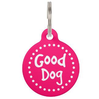 Personalizado del rosa y blanco buen del perro placas de mascota