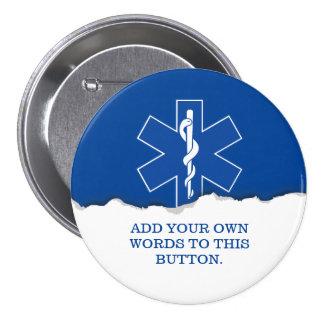 Personalizado del símbolo del paramédico de EMT Pin Redondo De 3 Pulgadas