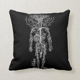 Personalizado del sistema circulatorio del hombre cojin