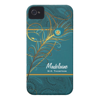 Personalizado del trullo y del oro del pavo real iPhone 4 Case-Mate protectores