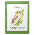 Personalizado, diario del jardín con el gorrión de libros de apuntes con espiral