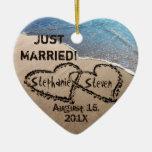 Personalizado dos corazones en el ornamento del co adorno