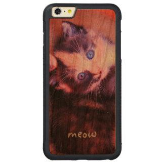 Personalizado dulce mimoso lindo adorable del gato funda para iPhone 6 plus de carved® de cerezo