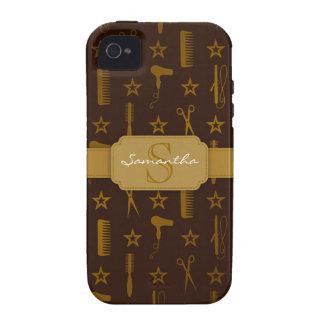Personalizado elegante de Brown del oro y de los C iPhone 4 Funda