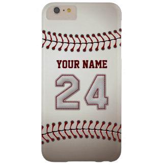 Personalizado elegante del número 24 del béisbol funda de iPhone 6 plus barely there