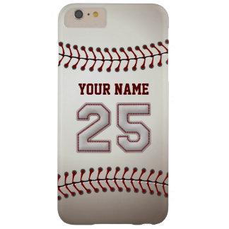 Personalizado elegante del número 25 del béisbol funda de iPhone 6 plus barely there