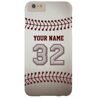 Personalizado elegante del número 32 del béisbol funda de iPhone 6 plus barely there