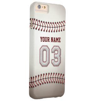 Personalizado elegante del número 3 del béisbol funda de iPhone 6 plus barely there
