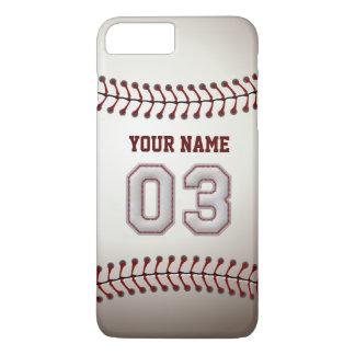 Personalizado elegante del número 3 del béisbol funda iPhone 7 plus
