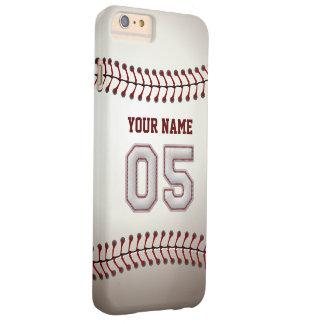 Personalizado elegante del número 5 del béisbol funda para iPhone 6 plus barely there