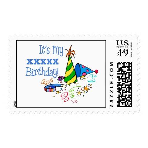 ¡Personalizado es mi cumpleaños XXX! (Azul de los  Timbres Postales