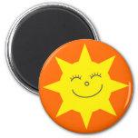 Personalizado feliz del naranja de la cara de Sun  Iman De Nevera