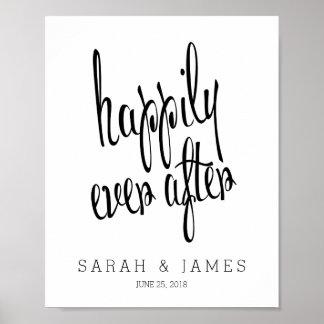 Personalizado feliz nunca después de casar el póster