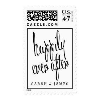 Personalizado feliz nunca después de casar timbre postal