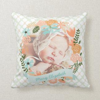 Personalizado floral de la foto de la guirnalda almohadas