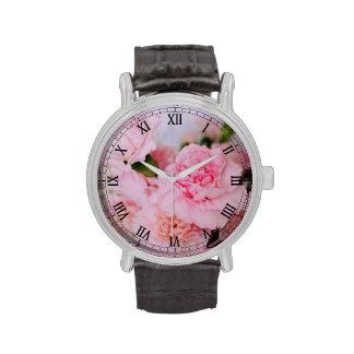 Personalizado floral del arte de la foto del rosa relojes de pulsera