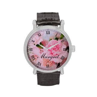 Personalizado floral del arte de la foto del rosa reloj