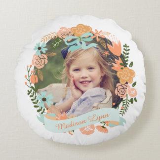 Personalizado floral femenino de la foto de la cojín redondo