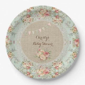 Personalizado floral lamentable del cordón de la platos de papel